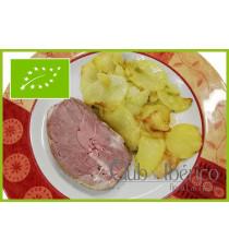 Plato de medallón cordero asado con patatas a lo pobre 100% ecológico